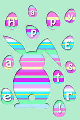 easter card with colorful striped rabbit and eggs shape
