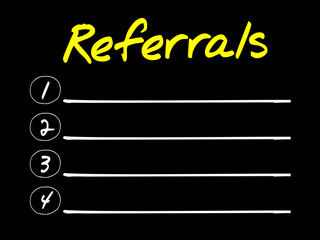Referrals blank list, business concept