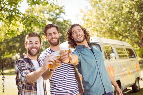 Hipster friends having a beer together - 79071117