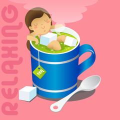 girl in blue mug of hot gree tea