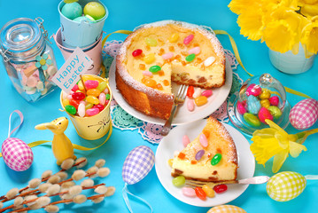 cheesecake with raisins on easter table