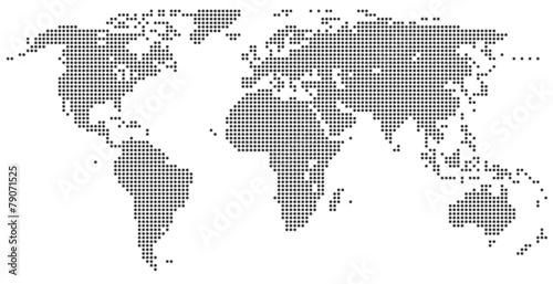 Mapa świata - szare kropki