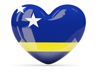 Heart shaped icon with flag of curacao