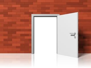 offene Tür in einer Wand aus Ziegelsteinen - Hoffnung, Ausweg