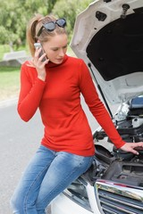 Young woman looking at engine