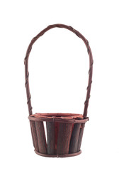 Blank wood basket on white