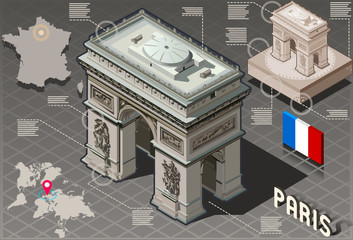 Isometric Infographic Arc de Triomphe in Paris - HD Quality