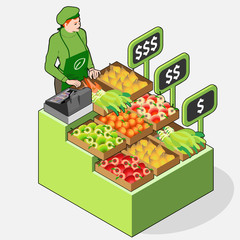 Isometric Greengrocer Shop - Woman Owner - Front View Standing P