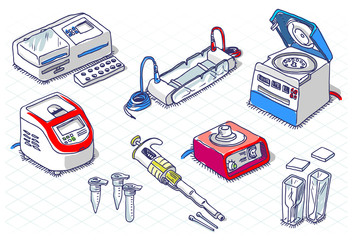 Isometric Sketch - Molecular Biology - Laboratory Set