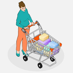 Isometric Grocery Shopping - Walking Woman with Full Shopping Ca
