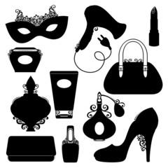 Vector Set of Women's Stuff Utensils. Shoe with High Heel, Woman