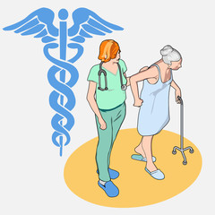 Isometric Healthcare People Set - Senior Patient and Nurse