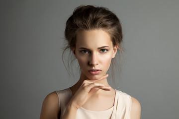 Studio portrait of caucasian girl