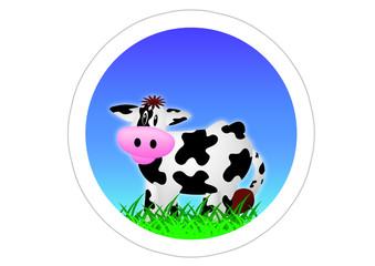 Kuh / Cow / Sticker - Blau