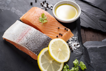 Fresh salmon with spices, cooking concept