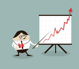 Vector illustration Businessman and positive graph