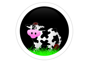 Kuh / Cow / Sticker - Schwarz