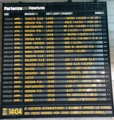 train schedule Board at a station in Italy
