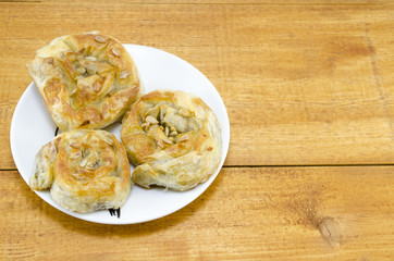 Homebaked meat pie on a plate