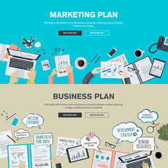 Set of flat design concepts for business plan and marketing plan