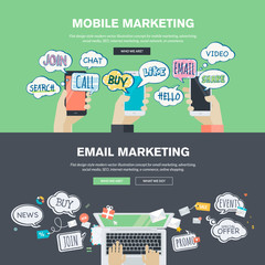 Set of flat design concepts for mobile and email marketing