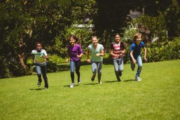 Children running at park