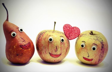 apples with the heart and a PEAR