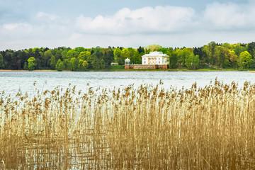 White palace on the lake
