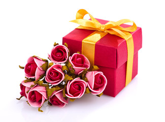 red flowers and gift box