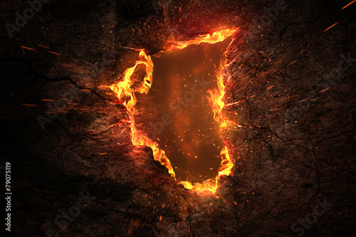 Aluminium Vuur / Vlam Fire Background