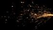 Leinwanddruck Bild - Glowing Flow of Sparks in the Dark