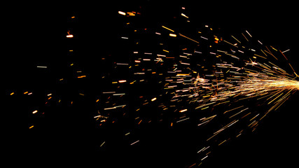 Glowing Flow of Sparks in the Dark