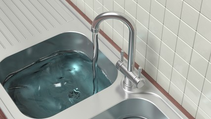 Kitchen cabinet closeup chrome sink with running water