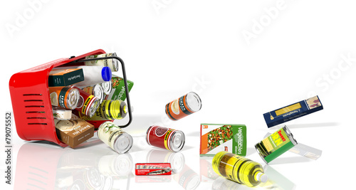 Fotobehang Boodschappen Full shopping basket with products falling out isolated on white