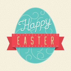 Happy Easter card with Easter Egg and lettering