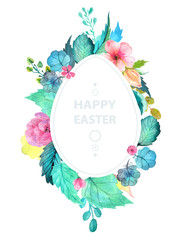Easter watercolor natural illustration with egg sticker