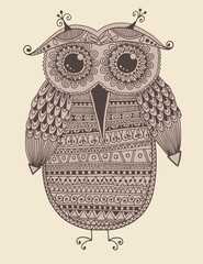 original ethnic owl ink drawing