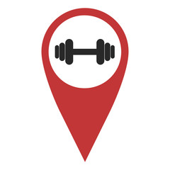 Red geo pin with dumbbell
