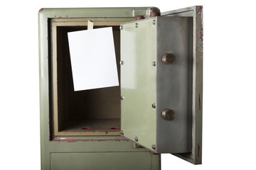 Domestic burglary. Safe box emptied by thieves. Blank space