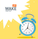 Vector blue wakeup clock card. Flat Design