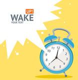 Vector blue wakeup clock card. Flat Design - 79078120