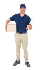 Delivery man with package and clipboard on white background