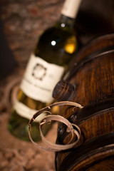 wodden barrel and  wine glass