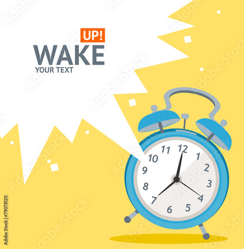 Vector blue wakeup clock card. Flat Design - 79078120