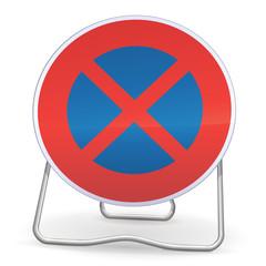 Arrêt et stationnement interdit sur trépied (reflet métal)