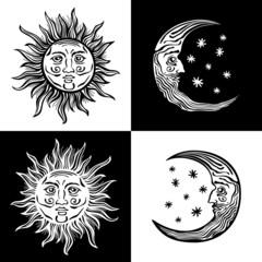 illustration sun moon faces retro vintage vector folklore
