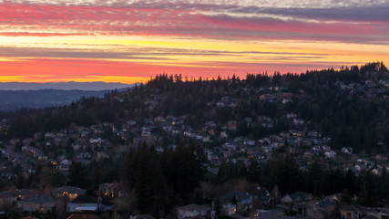 Time Lapse of Sunset Over Homes in Happy Valley Oregon