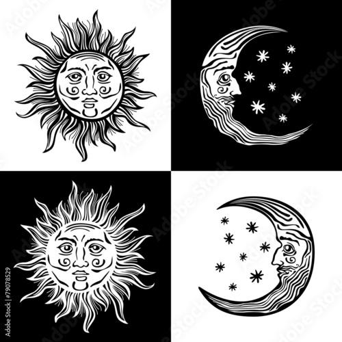 Fototapeta illustration sun moon faces retro vintage vector folklore