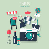 holidays and vacation flat vector french icons - 79078732