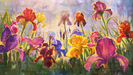 Irises - imitation of oil on canvas.